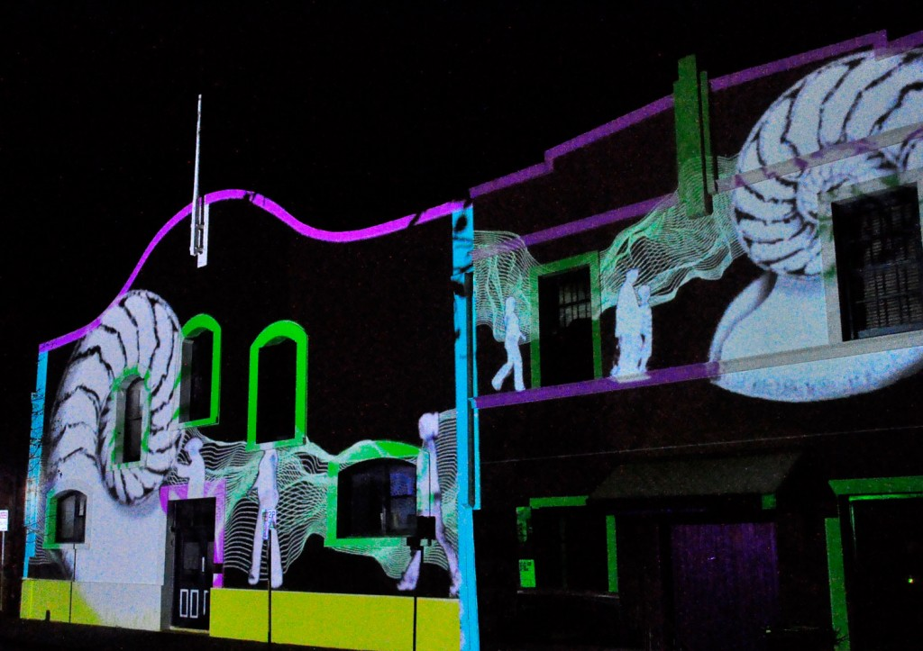 Mapped projections onto two of the buildings on Lipson Street, for projection tests in May 2011.