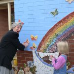 All ages helped with the Mural at Pennington School