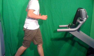 Jimmy Lloyd-Smith who plays Ado Fulgin, on a treadmill at the F.I.T Health and Fitness Centre in Goolwa. Not intentionally getting exercise, this has been filmed against a green screen so the background can be removed, and the final shot will be used for one of the video effects during the performance.