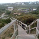 Looking down the boardwalk back to the township of Goolwa.