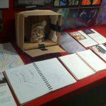 Sketchbooks on display.