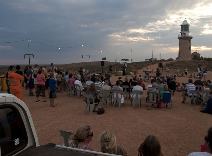 The crowd begins to gather for the spectacular lighthouse projections.