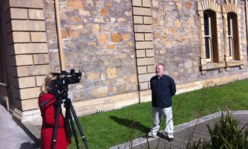 A candid shot of Ian Lilburne being interviewed by Sian from GWN7