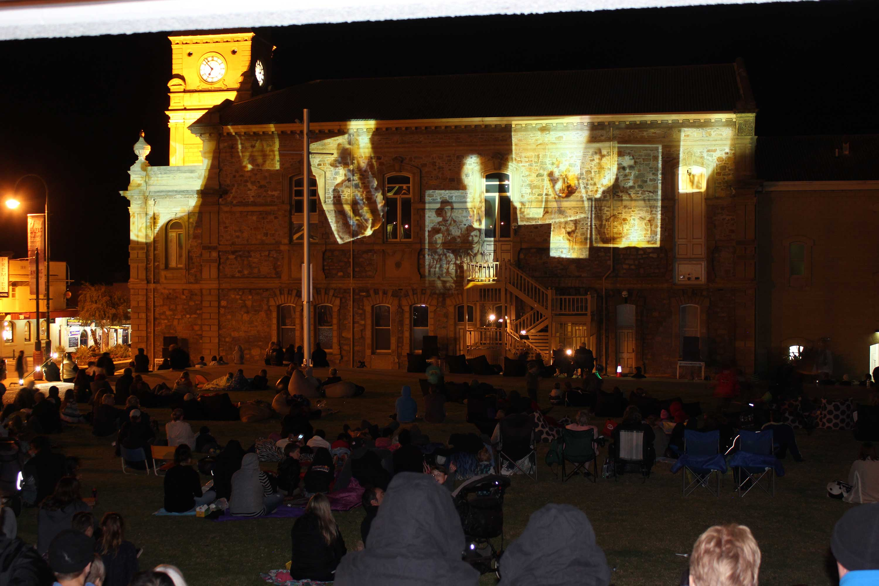 Projection of final scenes at Albany Town Hall
