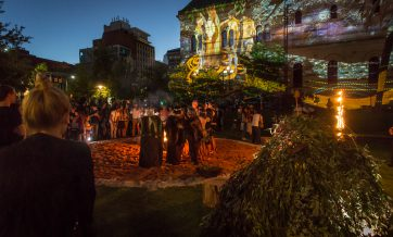 The sunset ceremony that opened the Adelaide Fringe 2016, as Tangkuinyendi Yabarra projections begin to play on the Mortlock Wing.
