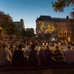 Conclusion of the Sunset Ceremony as Tangkuinyendi Yabarra projections begin to play on the Mortlock Wing.