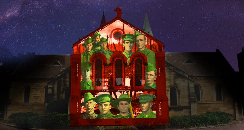 Projection onto Parramatta's St Johns Church