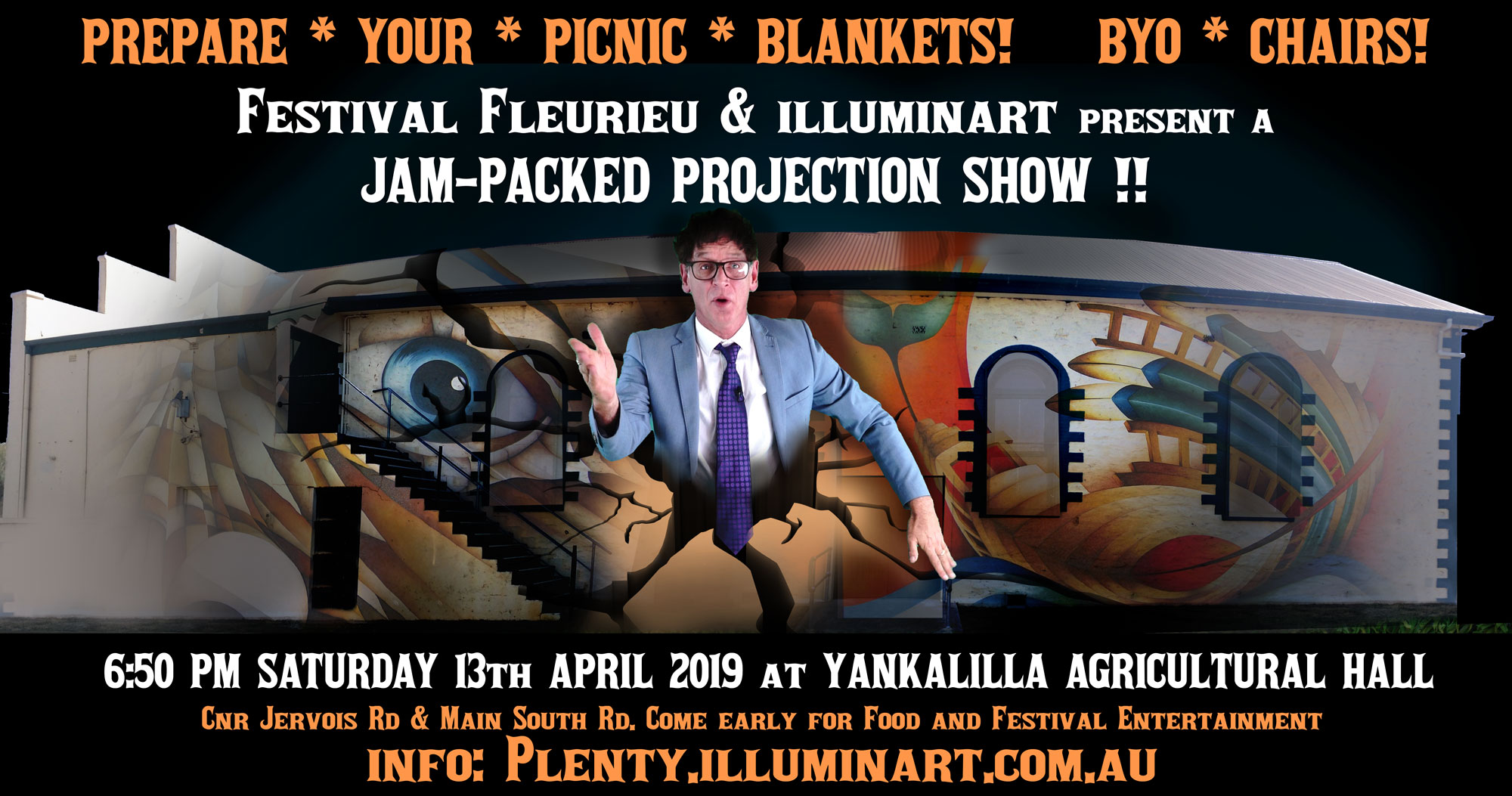 A poster for PLENTY a light show on 13 April 2019