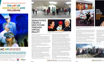 Conference program pages for the Arts Health Conference 2018, featuring the GeriActivists