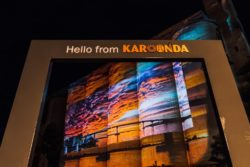 Photo by Jennings Media. Image projected on the silo provided by Scenic Rim Photography.