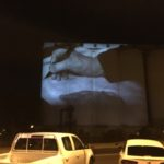 """Era of the Mosquito Fleet"" projected onto the Silos"