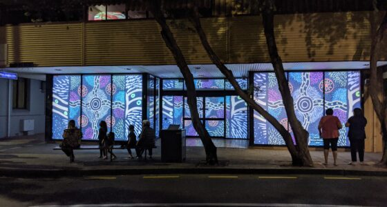 """""""Spinifex"""" by Maisie Wintinna- projected during NAIDOC 2020"""