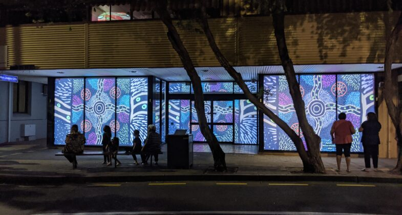 """Spinifex"" by Maisie Wintinna- projected during NAIDOC 2020"