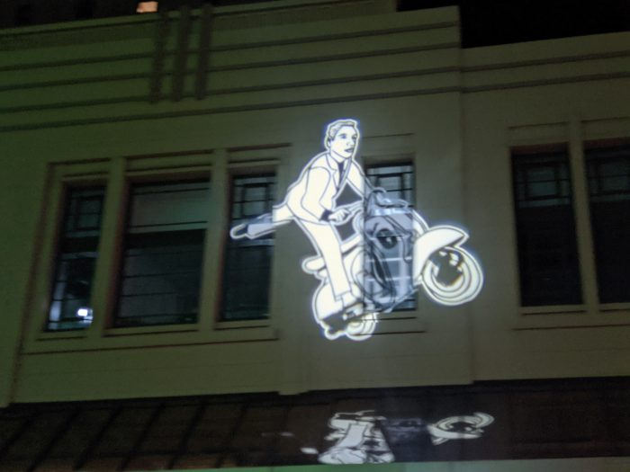 The Scooter Guy appears in many of the sites, and is based on Andy Petrusevics own experience of living on Runde Street in a studio above shops.